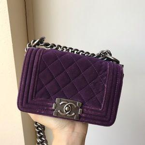 Chanel mini boy in purple velvet